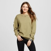 Mossimo Women's Distressed Crew Sweatshirt Moss Green