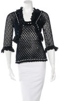 Oscar de la Renta Open-Knit Ribbon-Trimmed Cardigan Set