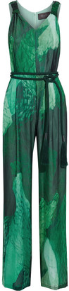 Max Mara Paco Belted Printed Silk-chiffon Wide-leg Jumpsuit