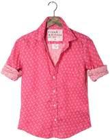 FRANK \u0026 EILEEN Womens Barry Italian Linen Palm Tree Print Shirt