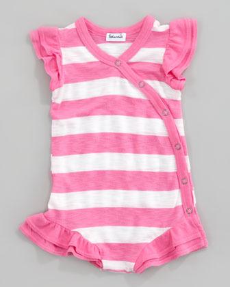 Splendid Littles Rugby Striped Kimono Playsuit, Pink