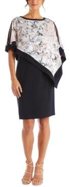 R & M Richards Printed Cold-Shoulder Overlay Dress