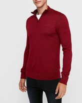 Express Merino Wool Blend Thermal-Regulating Mock Neck Quarter Zip Sweater