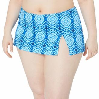 Bleu Rod Beattie Bleu | Rod Beattie Women's Plus-Size Mykonos Printed Skirted Hipster Bikini Bottom