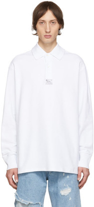 Raf Simons White Heroes and Losers Big Collar Polo