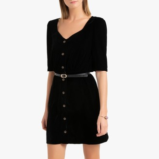 La Redoute Collections Short Velvet Bodycon Dress with Buttons and 3/4 Length Sleeves