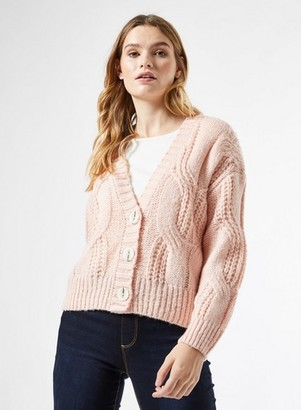 Dorothy Perkins Womens Blush Cable Button Cardigan