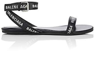 Balenciaga Women's Logo Leather Ankle-Wrap Sandals - Black