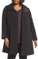 Gallery Plus Size Women's Long Silk Look Raincoat
