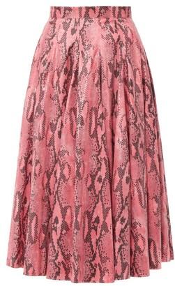 MSGM Snake-print Jersey Midi Skirt - Womens - Pink