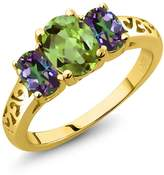 Gem Stone King 2.33 Ct Oval Peridot Mystic Topaz 18K Yellow Gold Plated Silver 3-Stone Ring