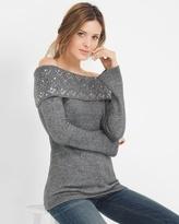 White House Black Market Off-The-Shoulder Embellished Sweater