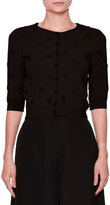 Valentino 3/4-Sleeve Daisy Knit Cardigan, Black