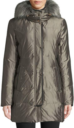 Cole Haan Silky Down-Fill Anorak Coat w/ Faux-Fur Hood