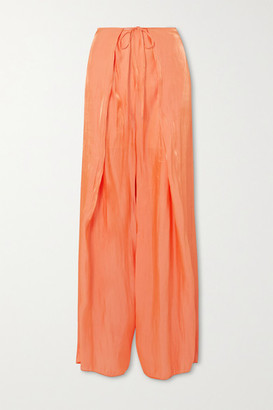 Kenzo Tie-front Crinkled-satin Wide-leg Pants - Orange