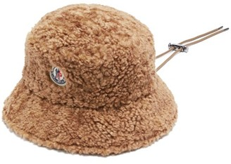 Moncler Toggle Ties Faux-shearling Bucket Hat - Brown