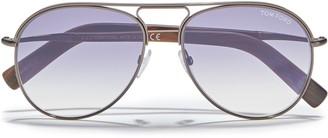 Tom Ford Aviator-style Gunmetal-tone Sunglasses