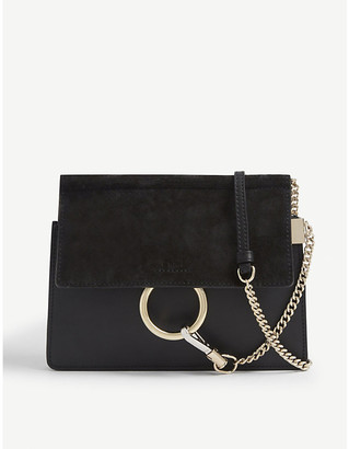 Chloé Faye mini suede and leather satchel