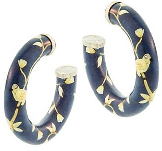 Silvia Furmanovich Marquetry 18K White Gold, Light Brown Diamond & Wood Hoop Earrings