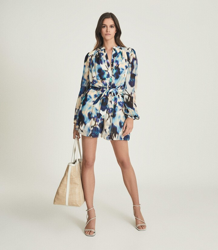 Thumbnail for your product : Reiss Tate - Printed Playsuit in Blue