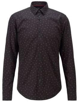 HUGO BOSS Slim Fit Shirt In Micro Print Cotton Canvas - Black