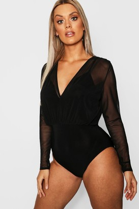 boohoo Plus Mesh 2 in 1 Strappy Bodysuit