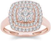 MODERN BRIDE 1/2 CT. T.W. Diamond Halo 10K Rose Gold Engagement Ring
