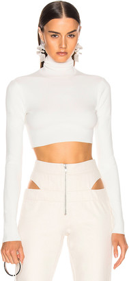 ZEYNEP ARCAY Turtleneck Cropped Knit Top in White | FWRD