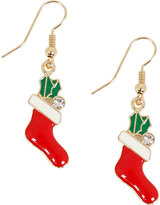 Yours Clothing Gold & Multi Christmas Stocking Dangle Earrings