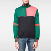 Paul Smith Men's Green And Charcoal Merino-Silk Panelled Zip-Through Top