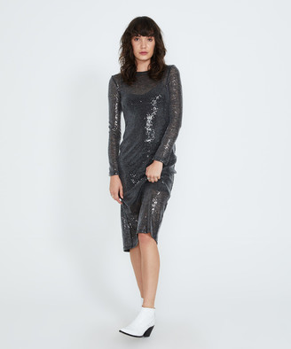 Alice In The Eve Courtney Sheer Sequin Mini Dress Grey