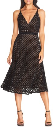 Dress the Population Gracie Sequin Overlay Midi Dress