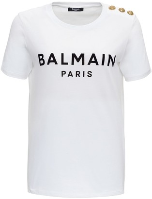 Balmain Logo Tee In Jersey With Logo End Dome Buttons On The Shoulder