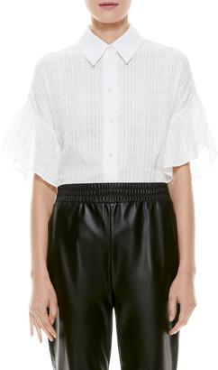 Alice + Olivia Edyth Ruffle-Sleeve Draped Button-Down Top
