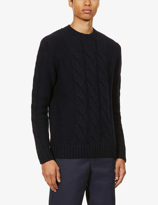 Barbour Lennox Cable crewneck wool- and cashmere-blend jumper