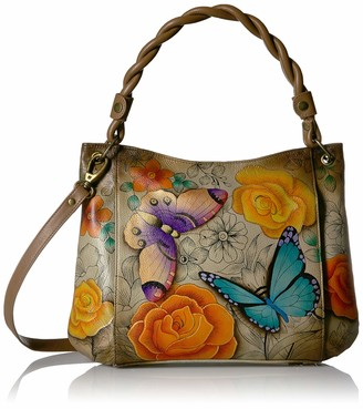 Anuschka Anna by Women's Genuine Leather Medium Slim Shoulder Bag| Hand Painted Original Artwork | Floral Paradise
