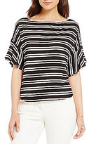 M.S.S.P. Striped Bell Sleeve Knit Jersey Top