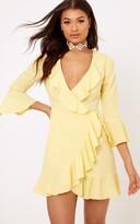 PrettyLittleThing Ilisha Lemon Frill Wrap Dress