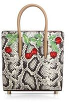 Christian Louboutin Paloma Small Cherry-Embroidered Python & Metallic Leather Tote