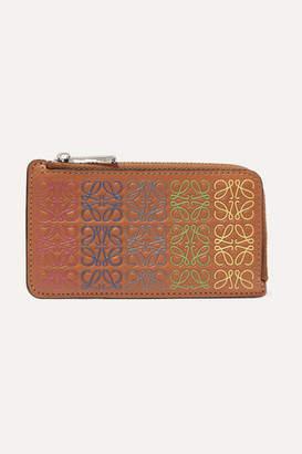 Loewe Printed Color-block Leather Cardholder - Tan