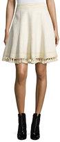 Andrew Gn Tassel-Trimmed Cloque Skirt, Cream