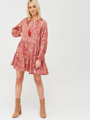River Island Printed Tie Neck Smock Dress - Red