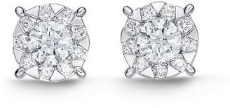 Memoire 18K 1.00 Ct. Tw. Diamond Bouquet Studs
