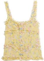 Attico - Ana Ruffled Floral-print Silk-chiffon Camisole - Pastel yellow