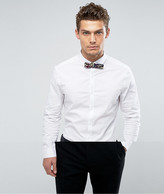 Asos Skinny Shirt In White With Navy Floral Bow Tie