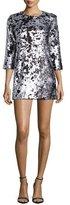 Elizabeth and James Danya Metallic Mini Dress, Pewter/Platinum