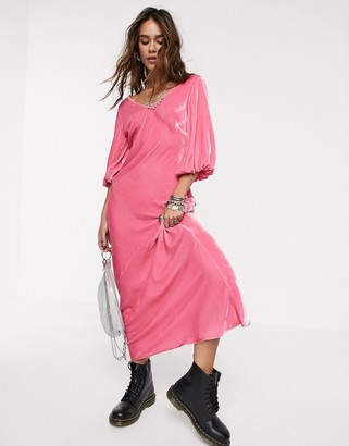 Asos Design DESIGN v front v back puff sleeve velvet maxi dress-Pink