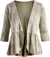 Glam Gray & Ecru Lace-Motif Ruffle-Hem Open Cardigan - Plus