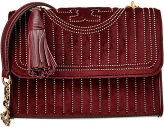 Tory Burch Fleming Mini Stud Small Velvet & Leather Shoulder Bag
