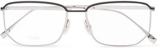 Fendi Rectangle-Frame Silver-Tone Metal Optical Glasses